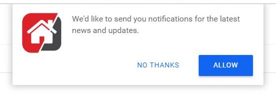 Notifications permission popup
